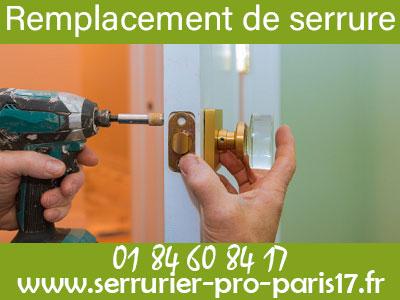 Remplacement de serrure Paris 17