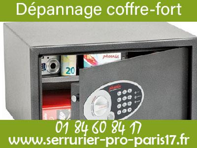 Tarif serrurier Paris 17 pour déoannage de coffre-fort à bas prix